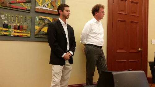 Watkins renovation project manager Greg Benson (left) and  Architect Sean O'Donnell before ANC6B last Tuesday night.