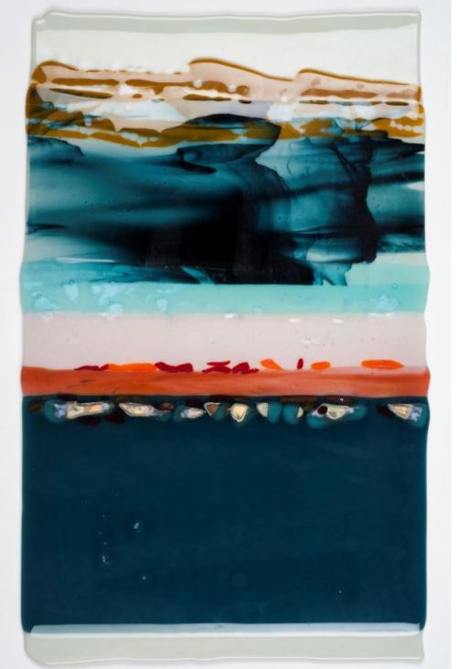 "Beach on the Other Side.  Fused Glass.  10"" X 20""  Price: $500  Artist:  Capitol Hill resident Elizabeth Eby  See Maryland Federation of Art here:  http://bit.ly/2d4QOL"