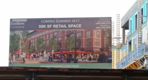 This sign near the intersection of 7th and C Streets, SE, went up earlier this month.  Eastbanc has dropped all pretense that Stanton Development is a significant partner in the Hine Development.  (A lot of us figured all along that Stanton was  Eastbanc's public face on Capitol Hill, tasked with selling the project to the community.