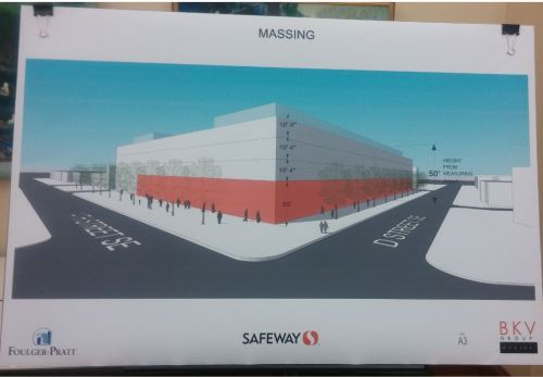 A Foulger-Pratt rendering of the massing - sans details - of the Safeway Development, seen from the corner of 14th and D Streets.