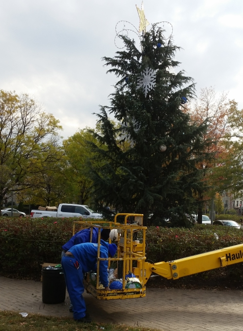 Capitol Hll BID began decorating the Eastern Market Metro Holiday tree in the large circle garden at Eastern Market Metro Plaza's Northeast quadrant.  The tree honors BID's founding President, George Didden, III.