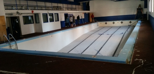The lower level reveals the swimming pool.