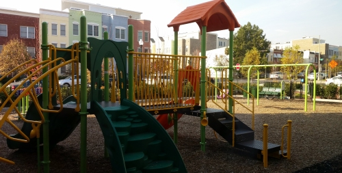 The playground for the day care center is currently being used as part of the after school program.