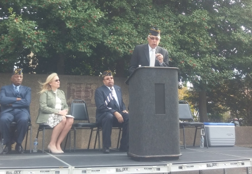 "Herman ""Rip"" Preston, Jr., Commender Kenneth H. Nash Post No. 8, welcomes the crowd and remembers the veterans."
