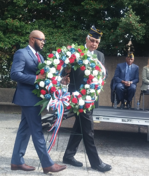 Laying of the wreath by Commander Preston and guest speaker E. Maquel Marshall, U.S. Department of Veterans Affairs