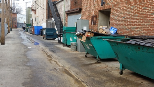 View of the alley abot 3:00pm after complaints caused the restaurant to clean up the mess.