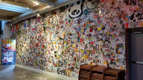 Last Sunday was the final opportunity to see the exhibit of 100,000 street stickers at The Fridge.  In case you missed it, this is what it looked like.