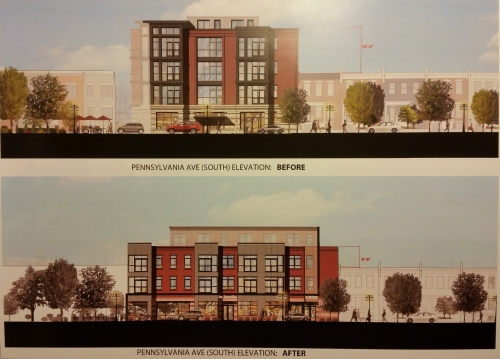 Before and after concepts of the La Lomita mixed use project.
