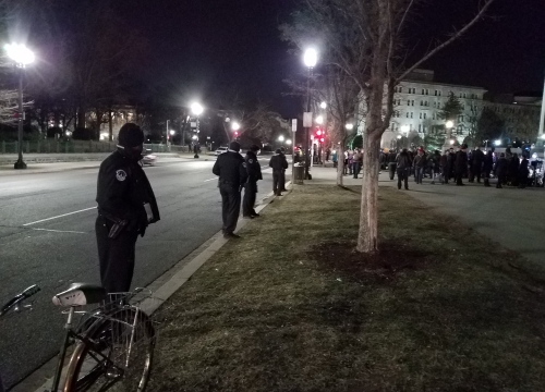US Capitol Police, at the ready this time to keep protesters out of the street.