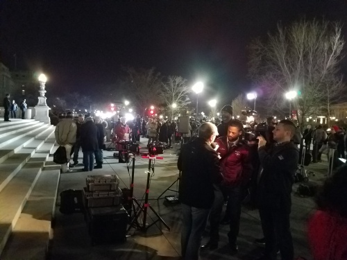 Tuesday Night.  20 television cameras set up in front ot the Supreme Court, as reporters awaited the announcement of Trump's nomination to the Supreme Court.