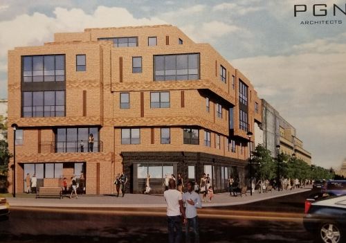 View of the proposed concept looking west.  The dimensions of the site's former one story building remain as a distinct element of the building's design.