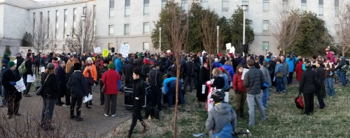 About 400 people showed up to support the Mayor and DC City Council Members in their protest of federal government control of the District.