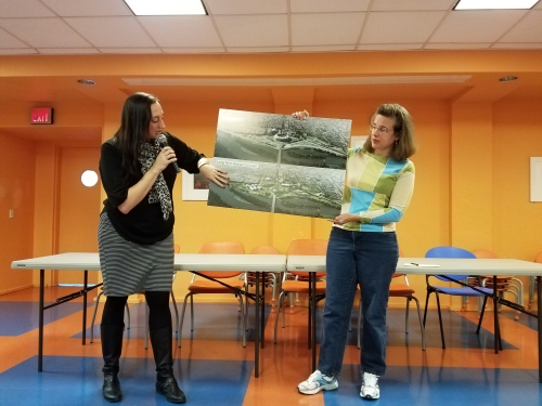 "Jennifer Iwa of EventsDC (left) revealed a plan for a new road connecting Benning Road and Barney Circle.  ANC6B Commissioner Denise Krepp, at right, responded, ""No."""