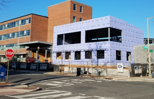 Progress on Watkins School Modernization from 12th and E Street, SE