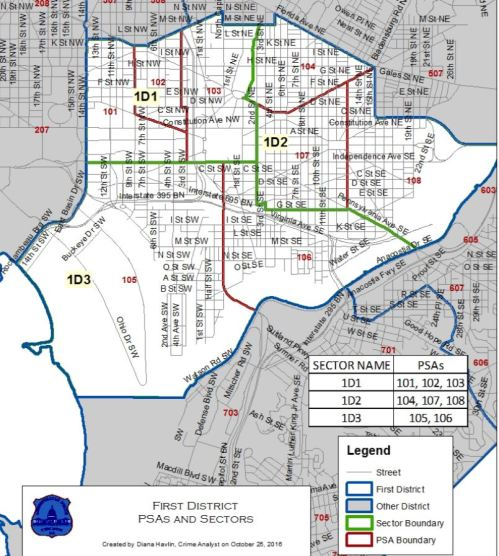Here's a map of the three Sectors comprising MPD District 1
