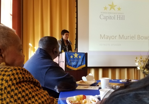 "Mayor Bowser at the annual meeting of the Capitol Hill BID last Tuesday morning. She told the BID supporters and employees, ""You can count on my support from here on out."""