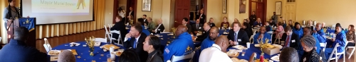 Those attending the annual meeting included BID board members, BID business members and the men in blue.