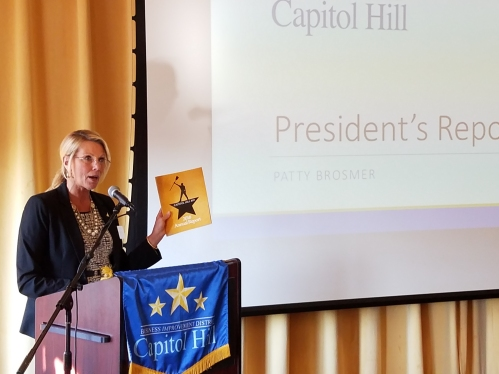 BID President Patty Brosmer was re-elected to lead the CH BID, and presented the annual report to the group of stakeholders.